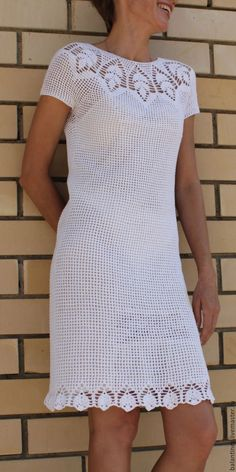 Handmade Made to order Dress Flirty Crochet summer cotton is made without a seam. Pure white natural yarn itself already adorns the dress, transforming it from everyday to elegant. Openwork coquette, like all openwork fabric dress look glamorous without causing a feeling of vulgarity, as the breeches-case skin color (natural silk, are not included) covers excessive curiosity and prevents unnecessary questions, which will be quite appropriate, if this luxurious dress will be a beach. The…