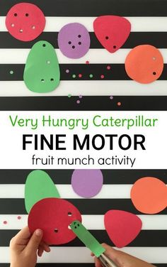 The Very Hungry Caterpillar hole punch activity is perfect for preschoolers and kindergarteners to strengthen fine motor skills and practice book comprehension!