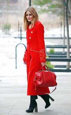 Talk about lady in red! Usually, we'd think this is too match-matchy, but with the gold accents, it's just right.