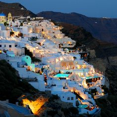 Santorini, Greece. The contrast of white washed houses with the blue of the Mediterranean. Yes, please.