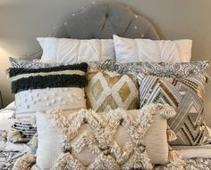 Teen Boho Bedroom in gray, white, navy, and metallics