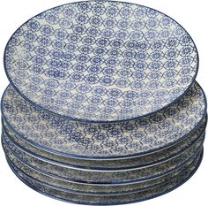 c9b5b4568cde Nicola Spring Patterned Side / Dessert / Cake Plates - 180mm (7 Inches) -  Blue Flower Design - Box Of 6: Amazon.co.uk: Kitchen & Home