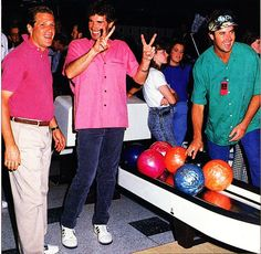 Glenn Frey bowling with Eddie Rabbit and Vince Gill( in green)