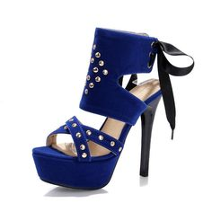 #FSJshoes - #FSJ Shoes Women's Blue Silver Studs Super Stiletto Heel Stripper Heels - AdoreWe.com