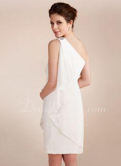 ba87c969a6fc Sheath/Column One-Shoulder Short/Mini Chiffon Wedding Dress With Beading  Cascading Ruffles