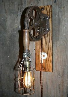 """Vtg Antique Industrial Steampunk """"P"""" Wall Lamp Pulley Work Cage Trouble Light"""