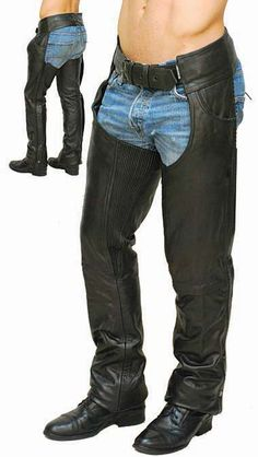 Premium Buffalo Leather Motorcycle Chaps with Pant Pockets and Stretch Thigh Motorcycle Chaps, Motorcycle Outfit, Motorcycle Clothes, Motorcycle Garage, Harley Davidson Store, Harley Davidson Merchandise, Biker Leather, Leather Pants, Biker Girl