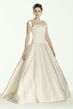 Satin Bridal Ball Gown With A Jewelled Neckline, Capped Sleeves, & A Dropped Waist; Oleg Cassini Collection For David's Bridal^^^^^^^^^