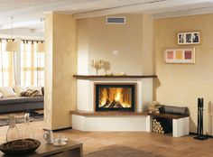 Contemporary fireplace mantel / in wood / marble / corner VIPITENO Piazzetta