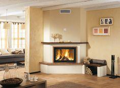 Contemporary fireplace mantel / in wood / marble / corner VIPITENO Piazzetta