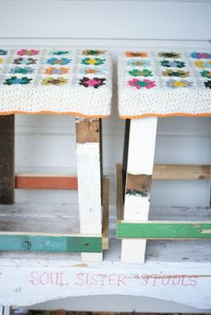 step stool covered in crochet