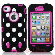Black Polka High Impact Combo Hard Rubber Case for iPhone 4 4G 4S Pink Protect | eBay