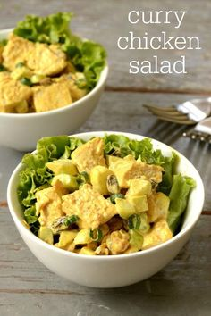 This healthy curry chicken salad recipe is addictive! It's a delicious combination of savory and sweet flavors as well as soft and crunchy textures. Great on a sandwich or a bed of lettuce.