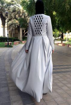 Criss-Cross Abaya Gown Light Grey by LanaLik on Etsy Islamic Fashion, Muslim Fashion, Modest Fashion, Fashion Dresses, Modest Wear, Modest Dresses, Burqa Designs, Mode Abaya, Hijab Style