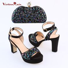WesternRain New Launch Shining Rhinestones Luxury Wedge Sandals With Women Evening Party Bag Set
