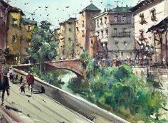 Landscape Painting Watercolour Original Granada Street Cityscape Spain 11x15 in #RealismImpressionism