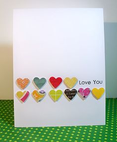 """I love the hearts and the """"love you"""". Great on a SB page masking a bunch of different papers."""
