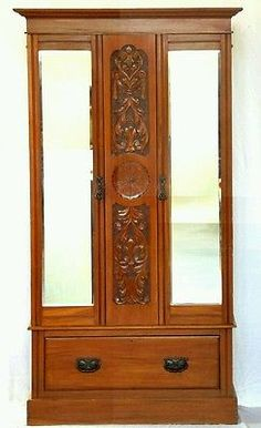 Edwardian mahogany double mirror door wardrobe can deliver