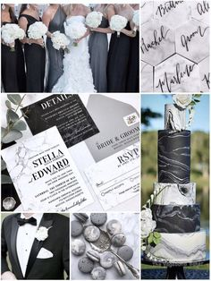 Black and White Marble Wedding Invitations, Black White and Gray Wedding Invitations, Gray Marble, Black and White is part of Grey wedding invitations or stamping service is not purchased, invitatio - Grey Wedding Decor, Black And White Wedding Theme, Gray Wedding Colors, White Wedding Decorations, Black And White Wedding Invitations, Black Tie Wedding, Wedding Color Schemes, Stage Decorations, Wedding Lace