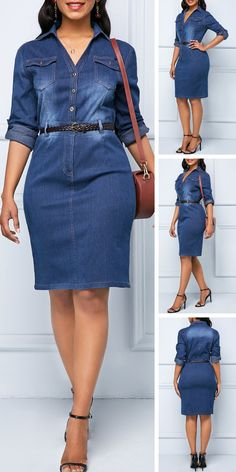 Button Up Denim Roll Tab Sleeve Shirt Dress Upgrade your wardrobe and try new styles this year. Latest African Fashion Dresses, Women's Fashion Dresses, Casual Dresses, Denim Dresses, Denim Outfits, Outfit Jeans, Shirt Outfit, Denim Shirt Dress, Levis Shirt