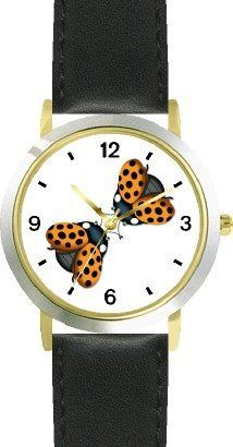 Two Lady Bugs with Spread Wings Kissing (Lady Bug or Lady Bird) - Ladybug - JP Animal - WATCHBUDDY® DELUXE TWO-TONE THEME WATCH - Arabic Numbers - Black Leather Strap-Size-Children's Size-Small ( Boy's Size & Girl's Size ) WatchBuddy. $49.95. Save 38% Off!