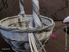 Мастер-класс Поделка изделие Плетение ручка для корзины Трубочки бумажные фото 33