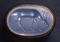 Stag Greece, Asia Minor 5th century BC 2,3x1,5 cm   Deer, blue chalcedony intaglio