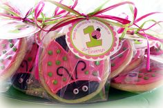 Ladybug cookie favors!! - These are pink and green ladybug cookie favors I made for my daughter's 1st birthday!!   Made with NFSC recipe and Antonia74 Royal Icing.