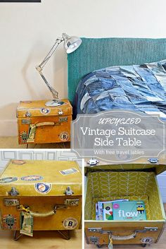 Upcycled vintage suitcase side table.  This tutorial includes a free download of vintage travel stickers and labels.