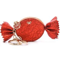 Anya Hindmarch Candy Coin Purse ❤ liked on Polyvore featuring bags, wallets, christmas bags, change purse wallet, holiday bags, coin pouch and red evening bag