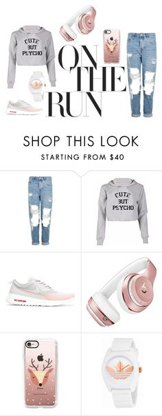"""Cute but Psycho"" by maja-jahic ❤ liked on Polyvore featuring Topshop, NIKE, Beats by Dr. Dre, Casetify and adidas"