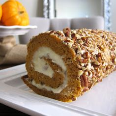 Pumpkin roll recipe with cream cheese filling. Tried it without the nuts and it is delicious.