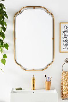 Perla Mirror by Anthropologie in Gold, Wall Decor Vintage Bathroom Mirrors, Unique Mirrors, Gold Bathroom, Bathroom Sets, Decorative Mirrors, Vanity Bathroom, Kid Bathrooms, Glamorous Bathroom, Art Deco Bathroom