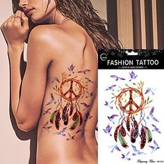 OOFAYZBL 5Pcs Waterproof Dreamcatcher Tattoo Peace Bird Feather Indian Dream Catcher Women Body Art Temporary Tattoo Sticker. Tattoo sticker use green ink and glue, is harmless to human body. Paste the successful design with waterproof and sweat-proof function, will not fall off in the shower, but do not rinse with hot water for too long, should not be rubbed with. Different parts of the pattern paste, duration of different patterned after 3-5 days began to fall under normal usage…
