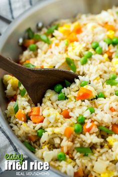 This Easy Fried Rice is a great reason to skip the take out! It's full of veggies and is WAY better than what you'd get at a restaurant!