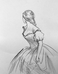 Sketch of woman in ballgown http://annawijnands.tumblr.com/