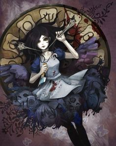 An awesome and bad ass artwork for Alice Madness Returns! Horror Art, Dark Alice In Wonderland, Drawings, Fantasy Art, Alice Madness Returns, Art, Anime, Anime Characters, Fan Art