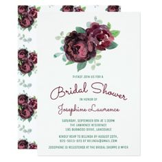 Burgundy Roses Bridal Shower Invitations - invitations personalize custom special event invitation idea style party card cards
