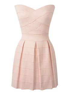 Pink Strapless Textured Zip Back Bandage Dress