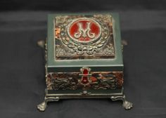 "Alexeievich Afanasiev Faberge box with diamonds and precious stones believed to be rubies box made of silver and stone, bottom of box marked with the Faberge mark ""?A"" ""A?C 1896"" ""84"" measuring 4.25""x4.25""x2.25""T. Afansiev, Feodor Alexeievich, made small objects of gild silver, guilloche enamel and hard stone objects with gild-silver, small frames and cigarette cases. The metal standard in zolotniks: for silver 84 and 88      : Lot 534"