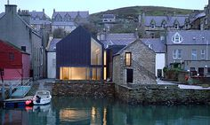 Pier Arts Centre by Reiach and Hall Architects. Contemporary intervention into the historic urban grain of Stromness; subtle, elegant and intensely contextual!