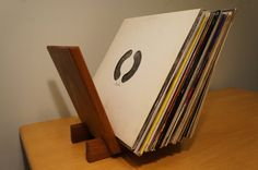 Solid Sapele Wood LP Record Holder. 40 by StandingWaveWoodwork