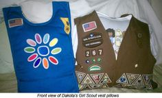 Great idea for old girl scout vests, etc.  Make them into pillows.  Have to try this.