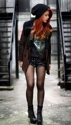 What an awsome edgy style for fall...shorts + tights + blazer + boots!