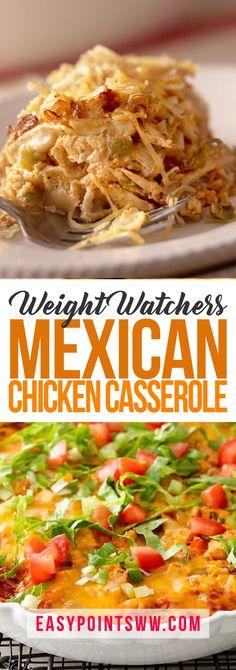Mexican Chicken Casserole - So easy and tasty! #casserole #chicken #dinner #meal #weight_watchers #tasty