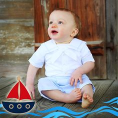 Our white and blue sailor short set is so beautiful and classic, it's perfect for your precious baby boy! You will love this button on bobby suit for all special occasions! It's available in sizes 3m-24m! ⛵⚓ http://www.feltmanbrothers.com/white-and-blue-sailor-short-set/