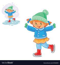 Winter of small girl ice vector image on VectorStock Winter Illustration, Christmas Illustration, Vector Stock, Vector Free, Christmas Crafts, Merry Christmas, Winter Wonder, Ice Skating, Adobe Illustrator