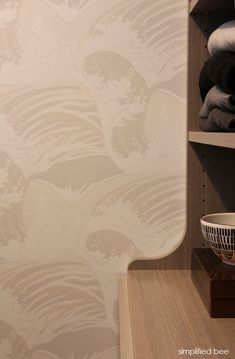 Cole and Son's Great Wave wallpaper // walk-in closet design // simplifiedbee.com @coleandsonpins @Cole_and_Son #wallpaper #wave