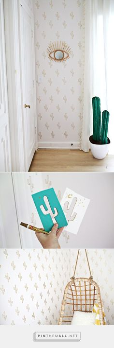 "Gold Cactus Wallpaper DIY by A Beautiful Mess | Come realizzare una finta carta da parati per un'intera stanza spendendo solo 20$ (click e poi vai a ""View Source"")"