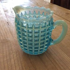 ANTIQUE BLUE MILK GLASS PITCHER - WAFFLE PATTERN EARLY 1900's
